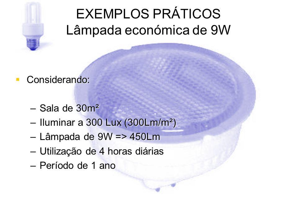 EXEMPLOS PRÁTICOS Lâmpada económica de 9W Considerando: Considerando: –Sala de 30m² –Iluminar a 300 Lux (300Lm/m²) –Lâmpada de 9W => 450Lm –Utilização