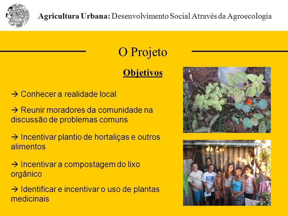 O Projeto Agricultura Urbana: Desenvolvimento Social Através da Agroecologia Objetivos Reunir moradores da comunidade na discussão de problemas comuns