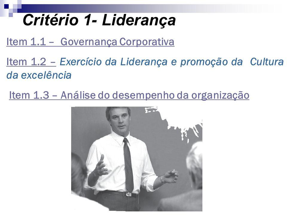 Critério 1- Liderança Item 1.1 – Governança Corporativa Item 1.2 –Item 1.2 – Exercício da Liderança e promoção da Cultura da excelência Item 1.3 – Aná