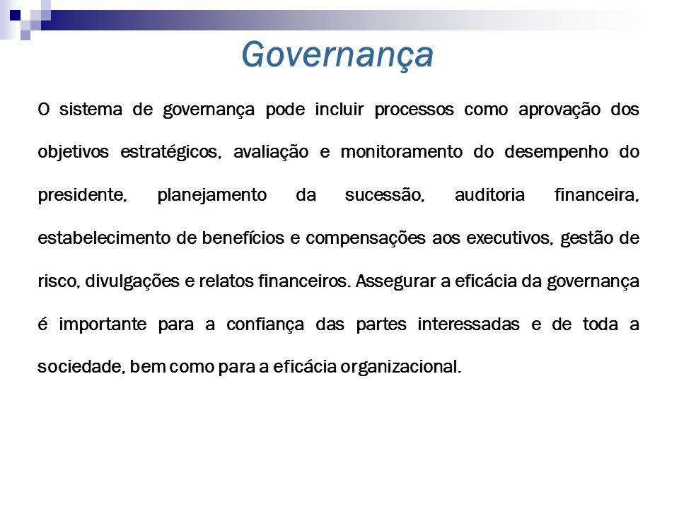 O sistema de governança pode incluir processos como aprovação dos objetivos estratégicos, avaliação e monitoramento do desempenho do presidente, plane