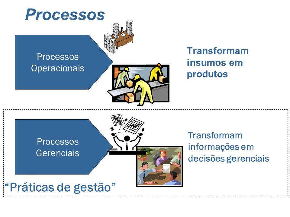 Processos Transformam insumos em produtos Processos Operacionais Processos Gerenciais Transformam informações em decisões gerenciais Práticas de gestã