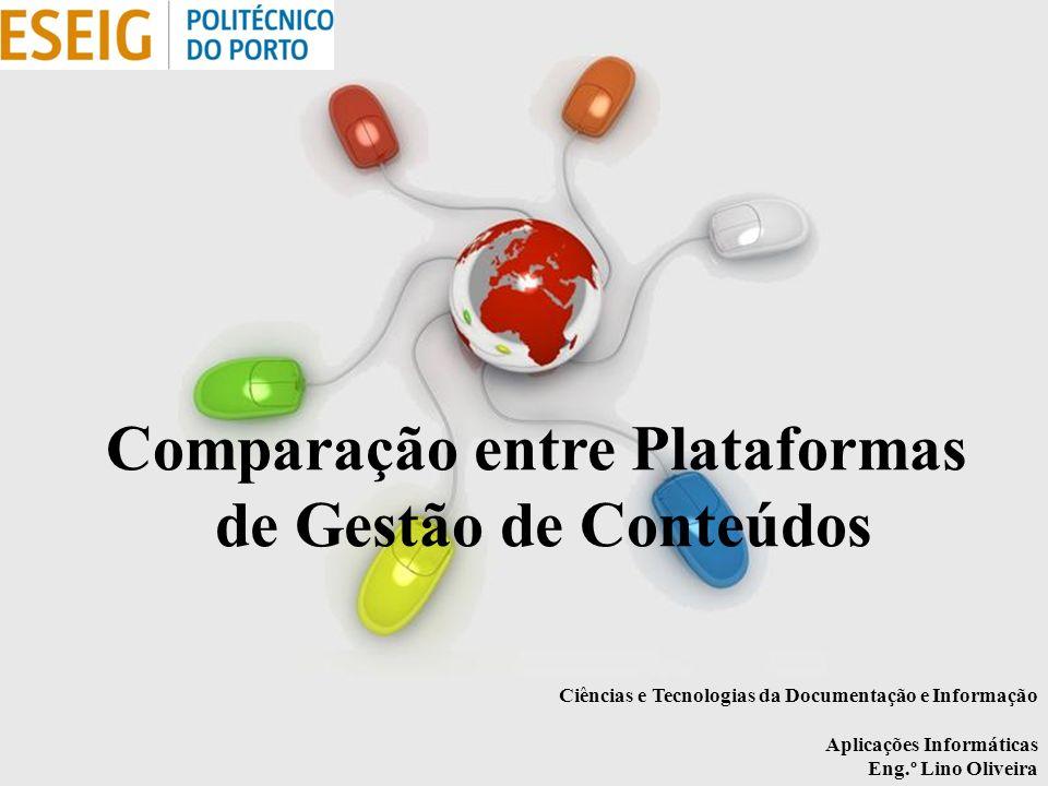 Free Powerpoint Templates Page 1 Free Powerpoint Templates Comparação entre Plataformas de Gestão de Conteúdos Ciências e Tecnologias da Documentação