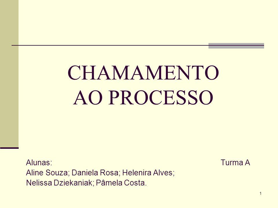 1 CHAMAMENTO AO PROCESSO Alunas:Turma A Aline Souza; Daniela Rosa; Helenira Alves; Nelissa Dziekaniak; Pâmela Costa.