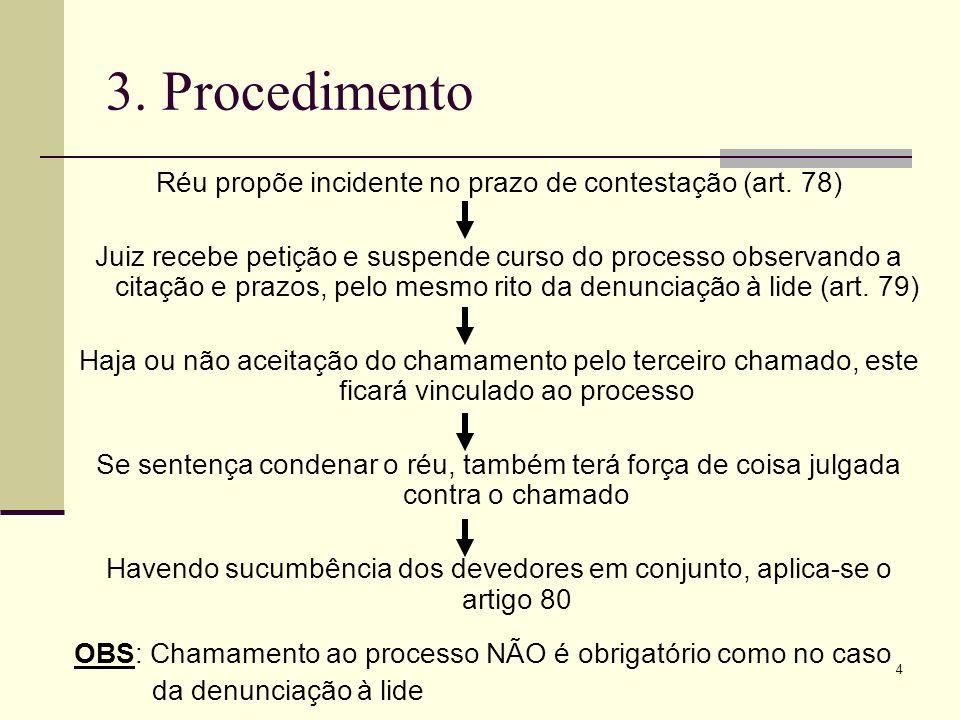 4 3. Procedimento Réu propõe incidente no prazo de contestação (art. 78) Juiz recebe petição e suspende curso do processo observando a citação e prazo