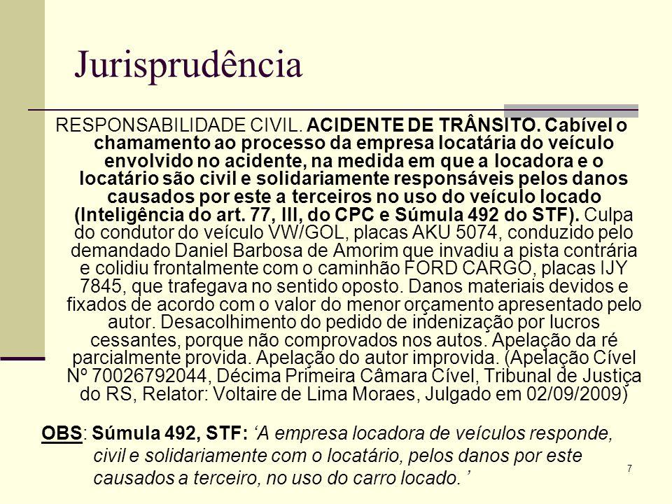 8 Jurisprudência AGRAVO DE INSTRUMENTO.RESPONSABILIDADE CIVIL.