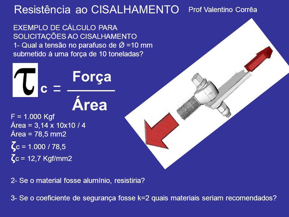 Prof Valentino Corrêa Resistência ao CISALHAMENTO EXEMPLO DE CÁLCULO PARA SOLICITAÇÕES AO CISALHAMENTO 1- Qual a tensão no parafuso de Ǿ =10 mm submet