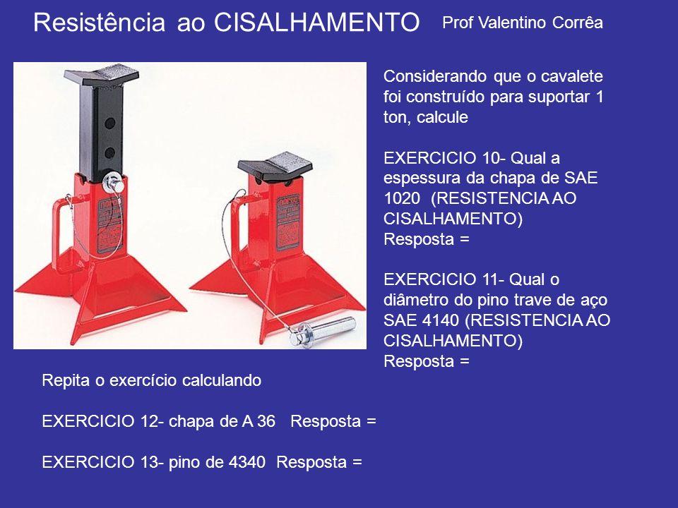 Prof Valentino Corrêa Resistência ao CISALHAMENTO Considerando que o cavalete foi construído para suportar 1 ton, calcule EXERCICIO 10- Qual a espessu
