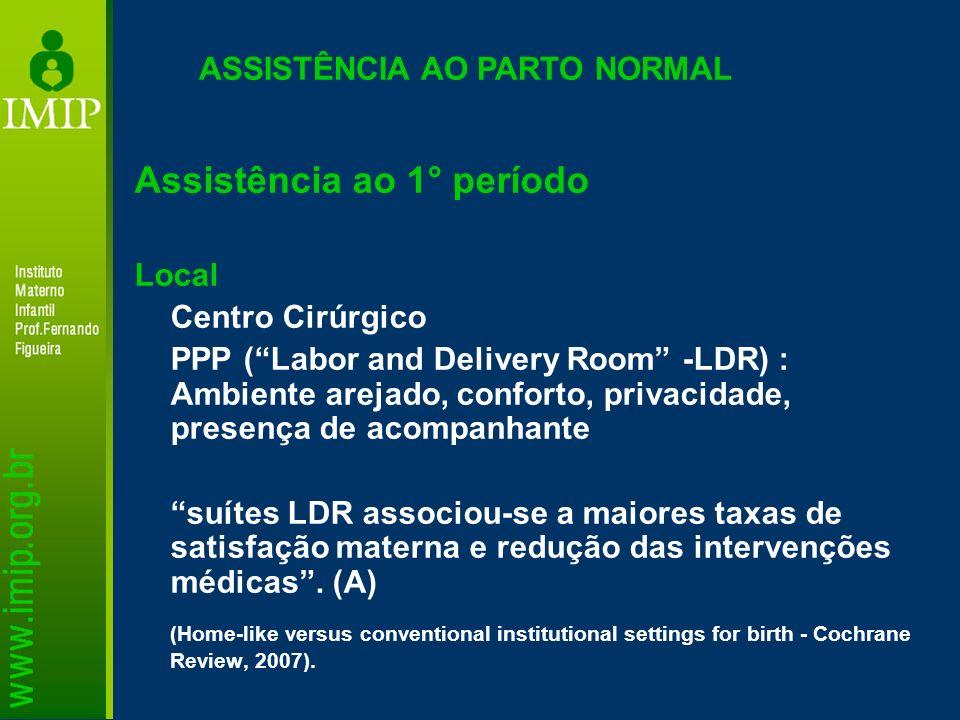 ASSISTÊNCIA AO PARTO NORMAL Assistência ao 1° período Local Centro Cirúrgico PPP (Labor and Delivery Room -LDR) : Ambiente arejado, conforto, privacid