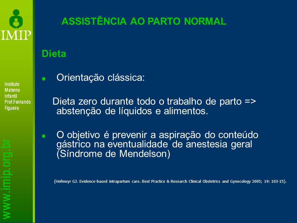 ASSISTÊNCIA AO PARTO NORMAL Dieta Orientação clássica: Dieta zero durante todo o trabalho de parto => abstenção de líquidos e alimentos. O objetivo é