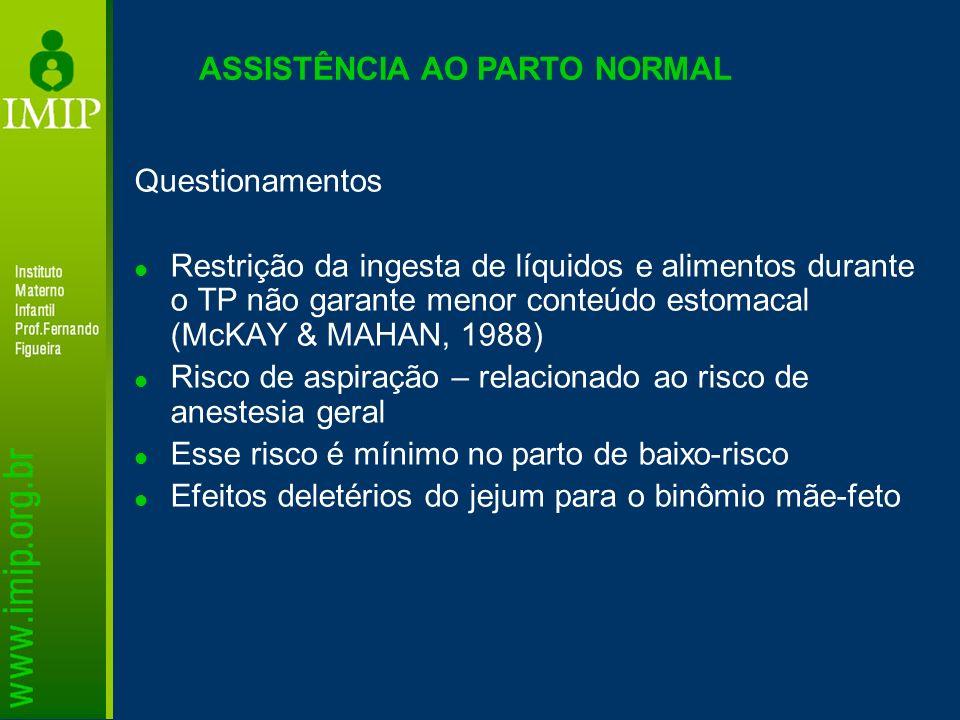 ASSISTÊNCIA AO PARTO NORMAL Questionamentos Restrição da ingesta de líquidos e alimentos durante o TP não garante menor conteúdo estomacal (McKAY & MA