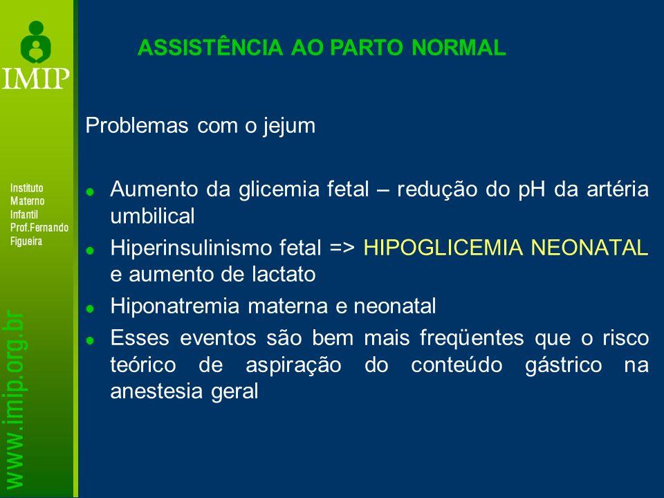 ASSISTÊNCIA AO PARTO NORMAL Problemas com o jejum Aumento da glicemia fetal – redução do pH da artéria umbilical Hiperinsulinismo fetal => HIPOGLICEMI
