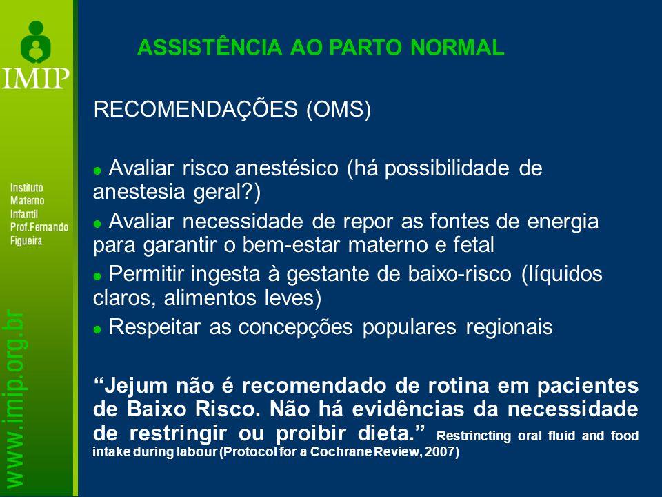 ASSISTÊNCIA AO PARTO NORMAL RECOMENDAÇÕES (OMS) Avaliar risco anestésico (há possibilidade de anestesia geral?) Avaliar necessidade de repor as fontes