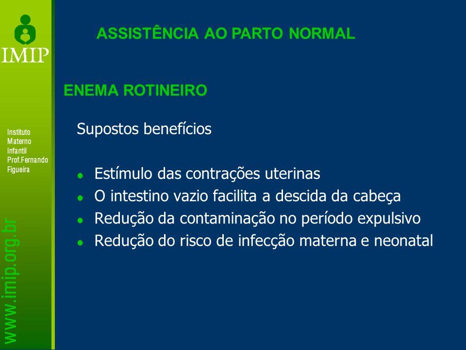 ASSISTÊNCIA AO PARTO NORMAL Supostos benefícios Estímulo das contrações uterinas O intestino vazio facilita a descida da cabeça Redução da contaminaçã