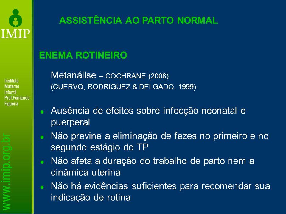 ASSISTÊNCIA AO PARTO NORMAL Metanálise – COCHRANE (2008) (CUERVO, RODRIGUEZ & DELGADO, 1999) Ausência de efeitos sobre infecção neonatal e puerperal N