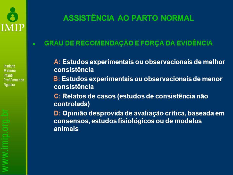 GRAU DE RECOMENDAÇÃO E FORÇA DA EVIDÊNCIA A: Estudos experimentais ou observacionais de melhor consistência B: Estudos experimentais ou observacionais