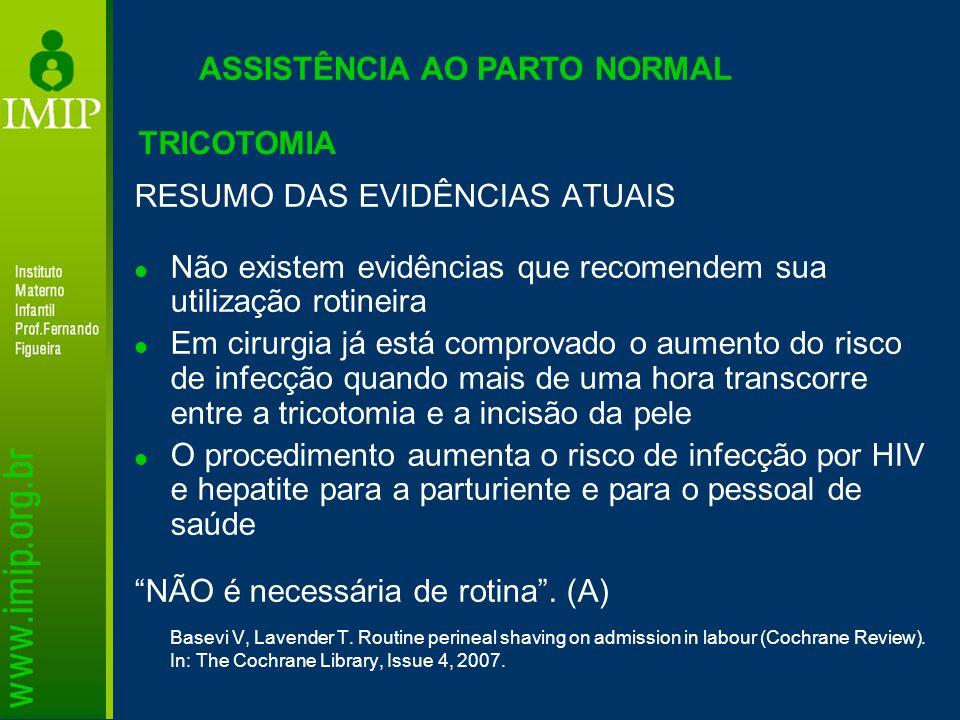 ASSISTÊNCIA AO PARTO NORMAL RESUMO DAS EVIDÊNCIAS ATUAIS Não existem evidências que recomendem sua utilização rotineira Em cirurgia já está comprovado