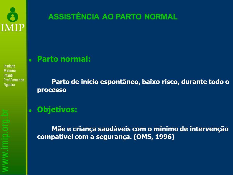 ASSISTÊNCIA AO PARTO NORMAL Parto normal: Parto de início espontâneo, baixo risco, durante todo o processo Objetivos: Mãe e criança saudáveis com o mí