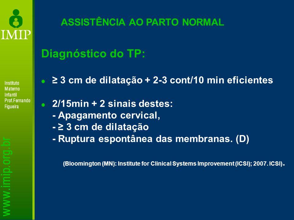 ASSISTÊNCIA AO PARTO NORMAL Diagnóstico do TP: 3 cm de dilatação + 2-3 cont/10 min eficientes 2/15min + 2 sinais destes: - Apagamento cervical, - 3 cm
