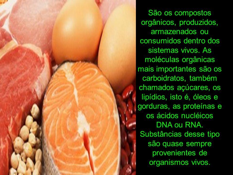 São os compostos orgânicos, produzidos, armazenados ou consumidos dentro dos sistemas vivos.