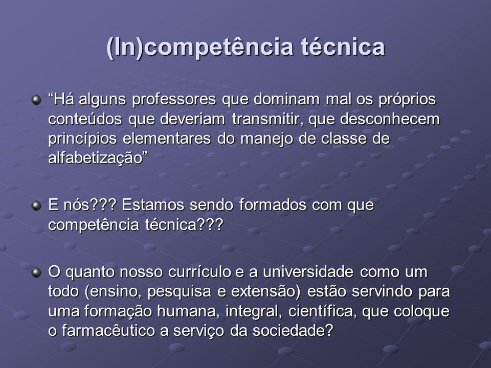 (In)competência técnica Há alguns professores que dominam mal os próprios conteúdos que deveriam transmitir, que desconhecem princípios elementares do