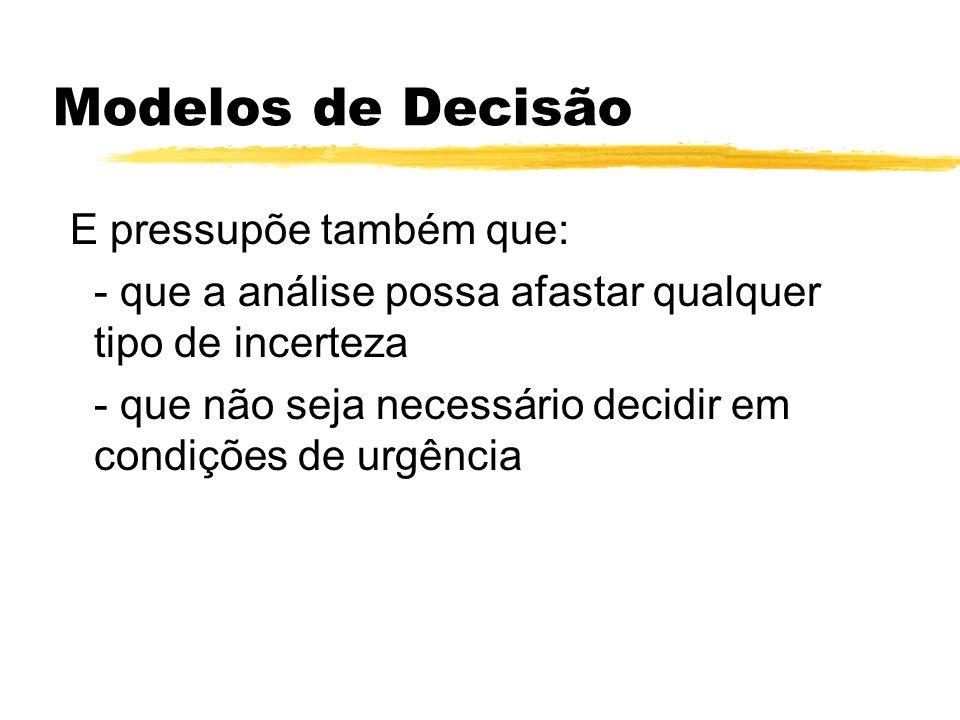 Modelos de Decisão E pressupõe também que: - que a análise possa afastar qualquer tipo de incerteza - que não seja necessário decidir em condições de