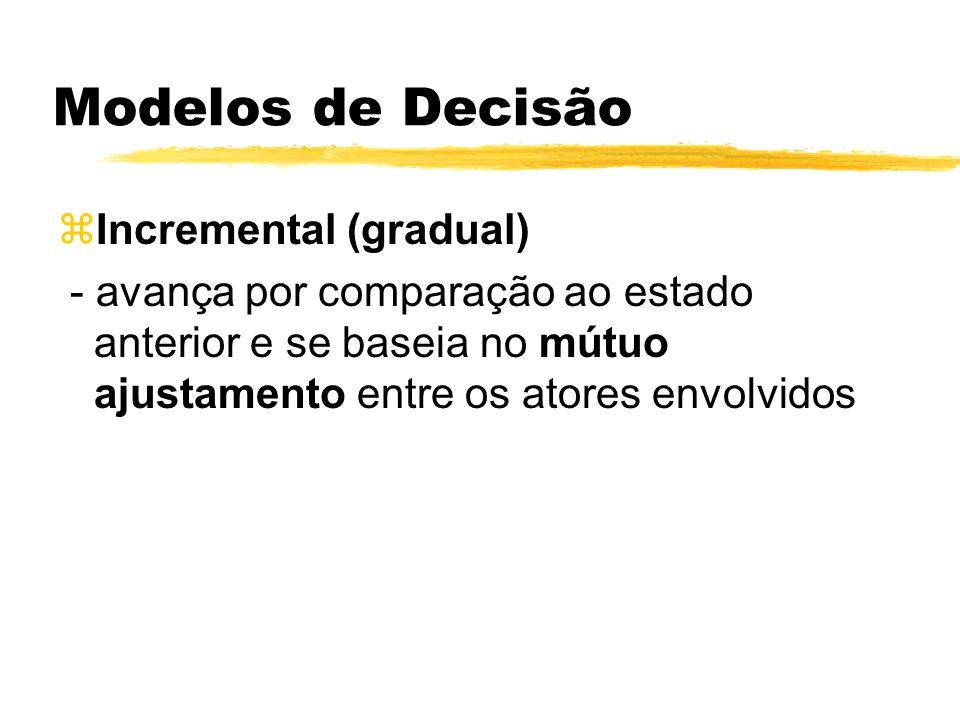Modelos de Decisão zIncremental (gradual) - avança por comparação ao estado anterior e se baseia no mútuo ajustamento entre os atores envolvidos