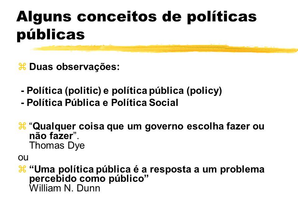 Alguns conceitos de políticas públicas zDuas observações: - Política (politic) e política pública (policy) - Política Pública e Política Social zQualq