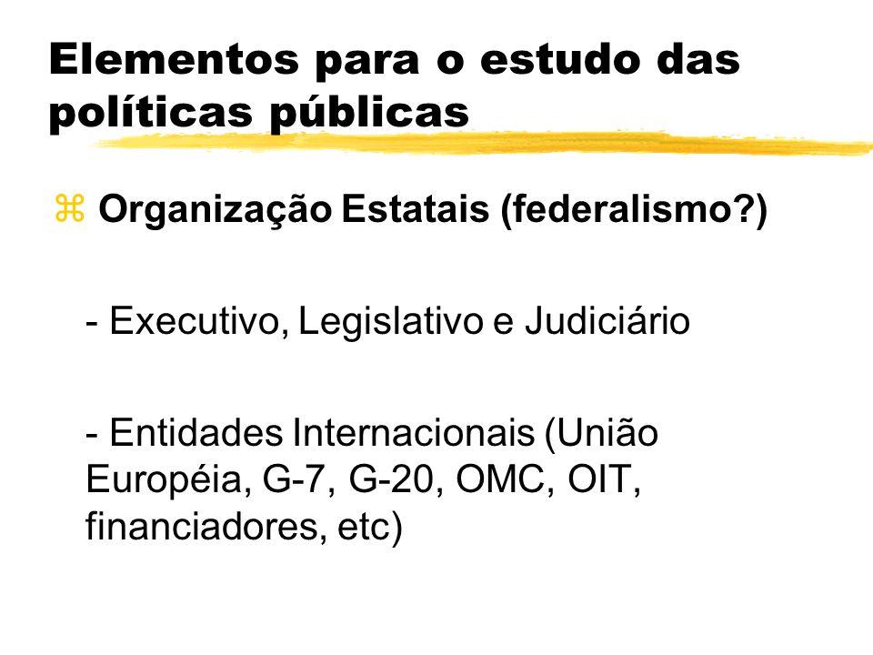 Elementos para o estudo das políticas públicas z Organização Estatais (federalismo?) - Executivo, Legislativo e Judiciário - Entidades Internacionais