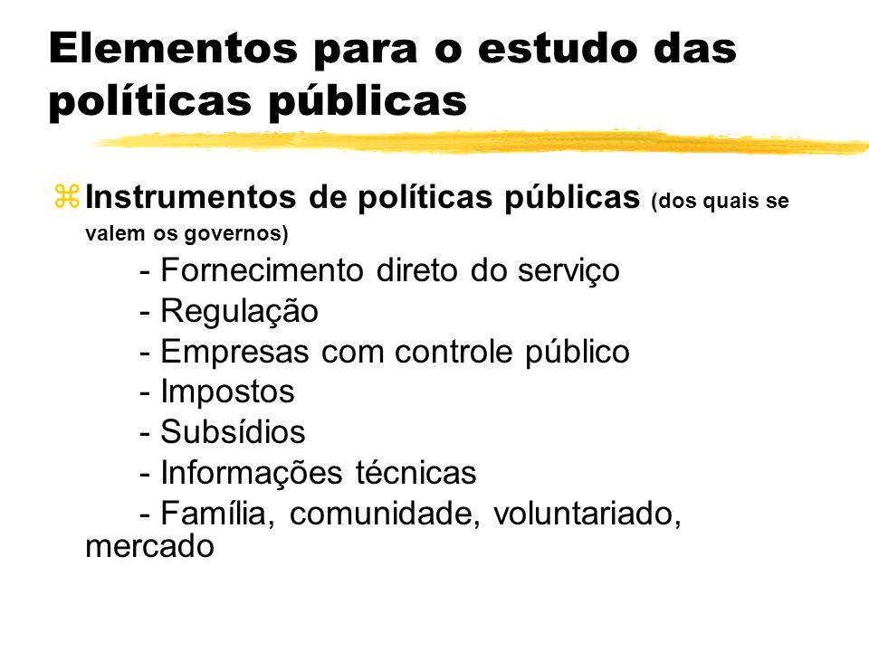 Elementos para o estudo das políticas públicas zInstrumentos de políticas públicas (dos quais se valem os governos) - Fornecimento direto do serviço -