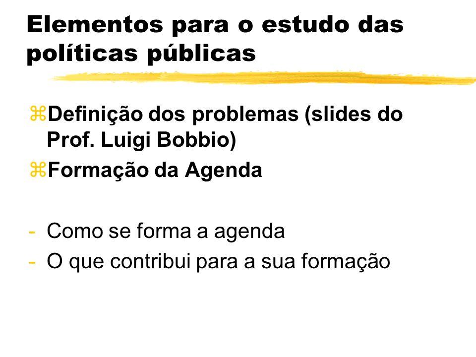 Elementos para o estudo das políticas públicas zDefinição dos problemas (slides do Prof. Luigi Bobbio) zFormação da Agenda -Como se forma a agenda -O