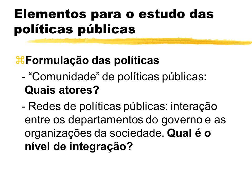 Elementos para o estudo das políticas públicas zFormulação das políticas - Comunidade de políticas públicas: Quais atores? - Redes de políticas públic