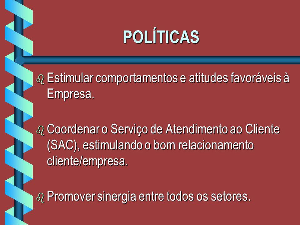 POLÍTICAS b Estimular comportamentos e atitudes favoráveis à Empresa.