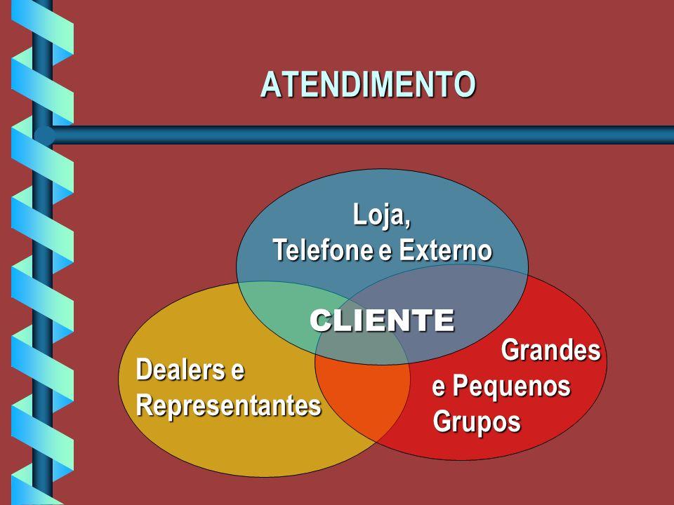ATENDIMENTO Dealers e Representantes Grandes Grandes e Pequenos e PequenosGrupos Loja, Telefone e Externo CLIENTE