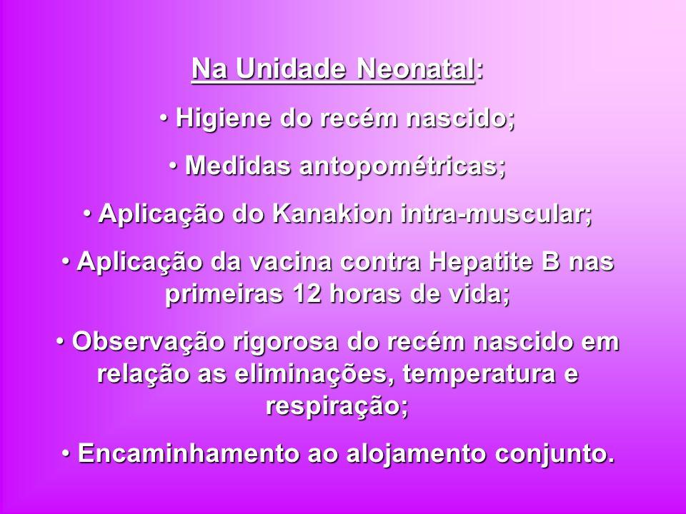 Na Unidade Neonatal: Higiene do recém nascido; Higiene do recém nascido; Medidas antopométricas; Medidas antopométricas; Aplicação do Kanakion intra-m