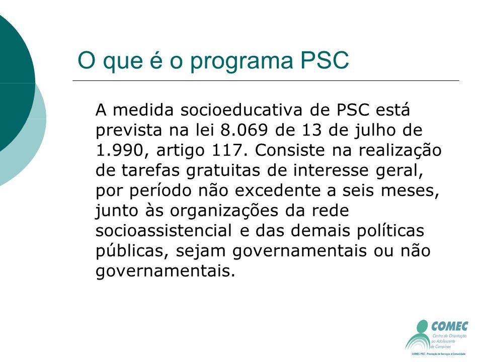 O que é o programa PSC A medida socioeducativa de PSC está prevista na lei 8.069 de 13 de julho de 1.990, artigo 117.