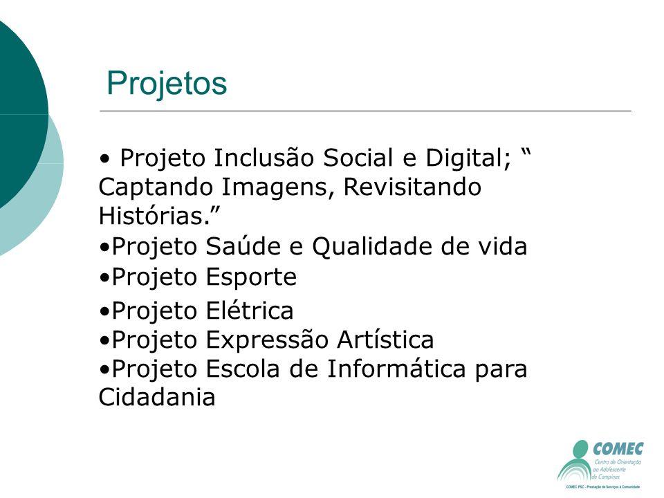 Projetos Projeto Inclusão Social e Digital; Captando Imagens, Revisitando Histórias.