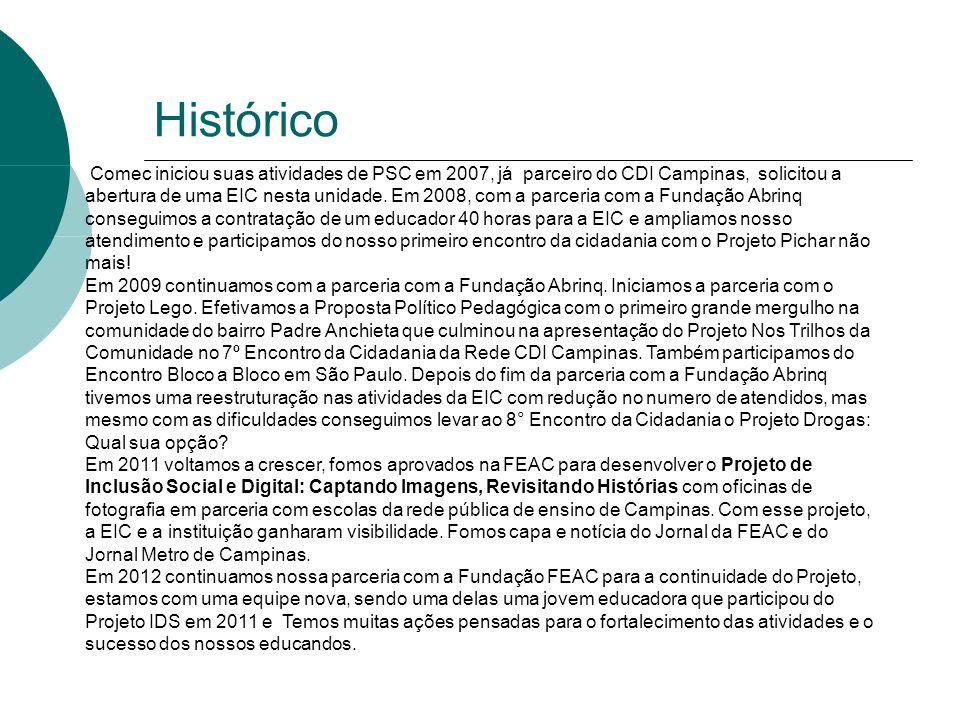 Histórico Comec iniciou suas atividades de PSC em 2007, já parceiro do CDI Campinas, solicitou a abertura de uma EIC nesta unidade.