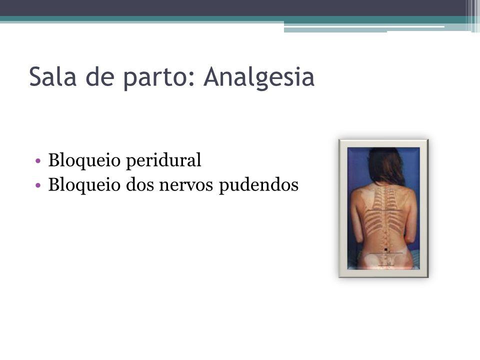 Sala de parto: Analgesia Bloqueio peridural Bloqueio dos nervos pudendos