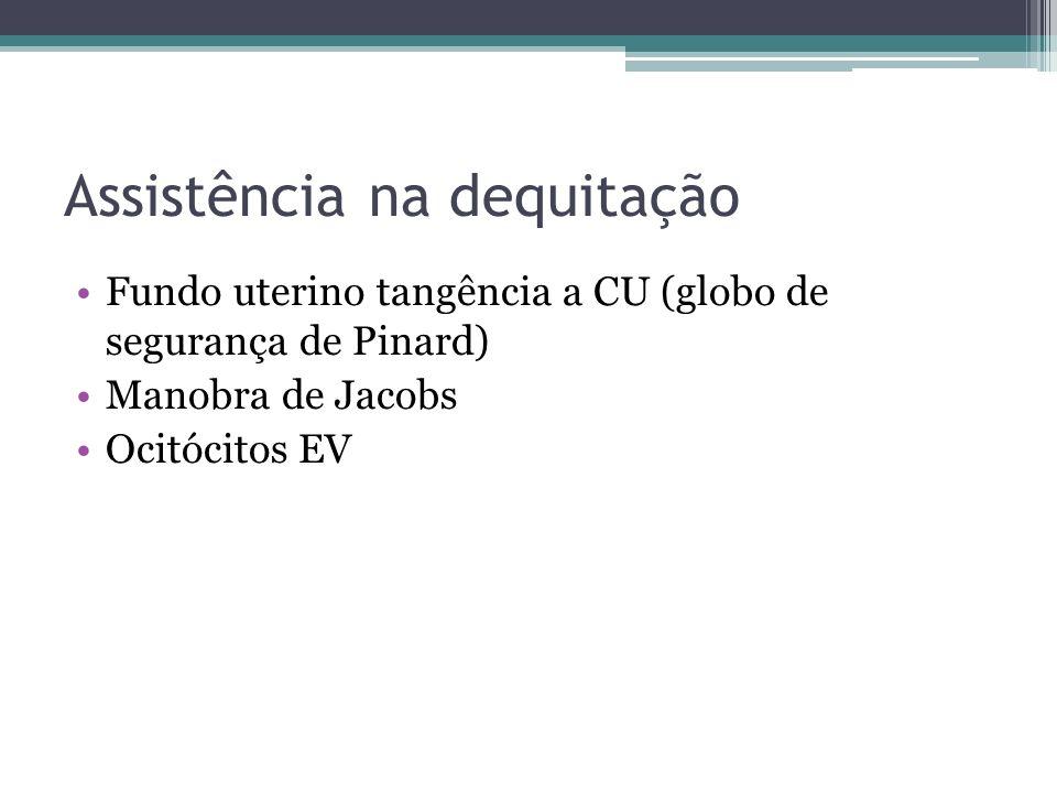Assistência na dequitação Fundo uterino tangência a CU (globo de segurança de Pinard) Manobra de Jacobs Ocitócitos EV