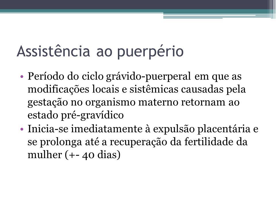Assistência ao puerpério Período do ciclo grávido-puerperal em que as modificações locais e sistêmicas causadas pela gestação no organismo materno ret