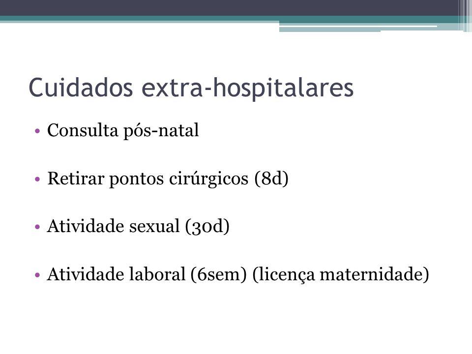 Cuidados extra-hospitalares Consulta pós-natal Retirar pontos cirúrgicos (8d) Atividade sexual (30d) Atividade laboral (6sem) (licença maternidade)