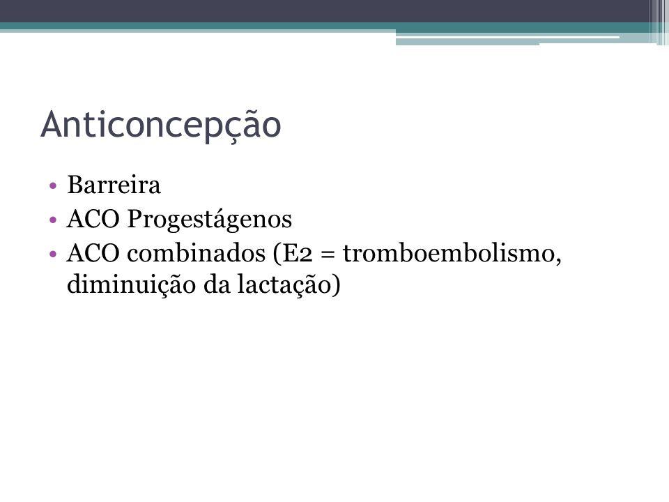 Anticoncepção Barreira ACO Progestágenos ACO combinados (E2 = tromboembolismo, diminuição da lactação)