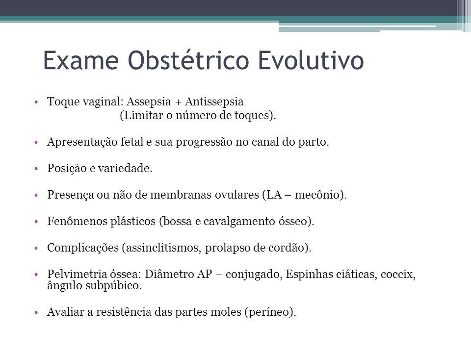 Exame Obstétrico Evolutivo Toque vaginal: Assepsia + Antissepsia (Limitar o número de toques). Apresentação fetal e sua progressão no canal do parto.