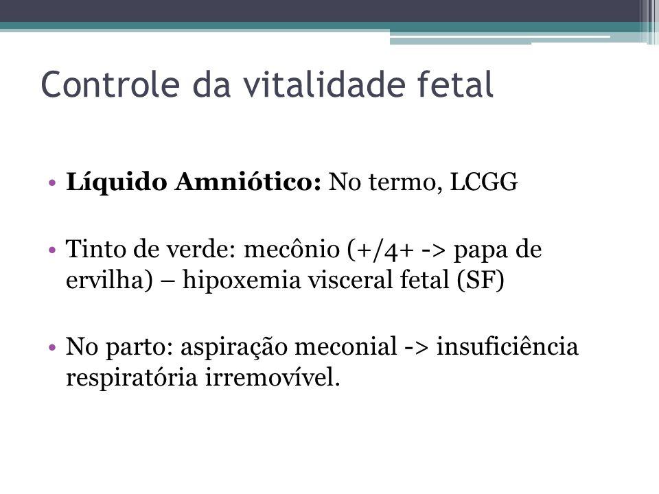 Controle da vitalidade fetal Líquido Amniótico: No termo, LCGG Tinto de verde: mecônio (+/4+ -> papa de ervilha) – hipoxemia visceral fetal (SF) No pa