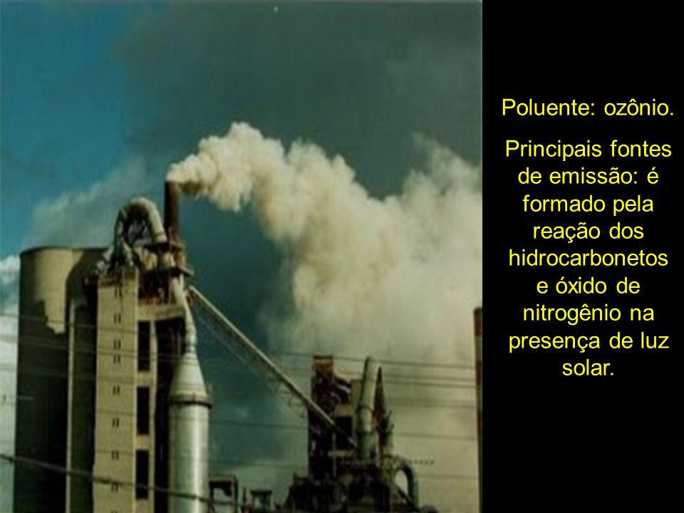 Poluente: ozônio. Principais fontes de emissão: é formado pela reação dos hidrocarbonetos e óxido de nitrogênio na presença de luz solar.