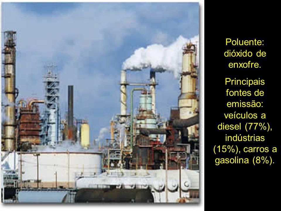 Poluente: dióxido de enxofre. Principais fontes de emissão: veículos a diesel (77%), indústrias (15%), carros a gasolina (8%).
