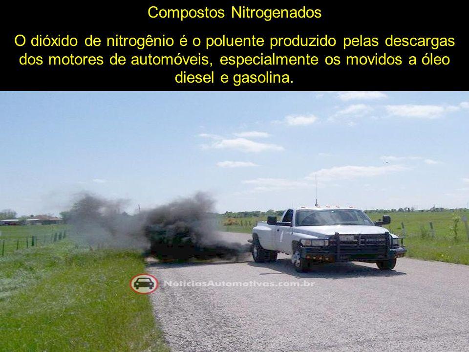 Compostos Nitrogenados O dióxido de nitrogênio é o poluente produzido pelas descargas dos motores de automóveis, especialmente os movidos a óleo diese