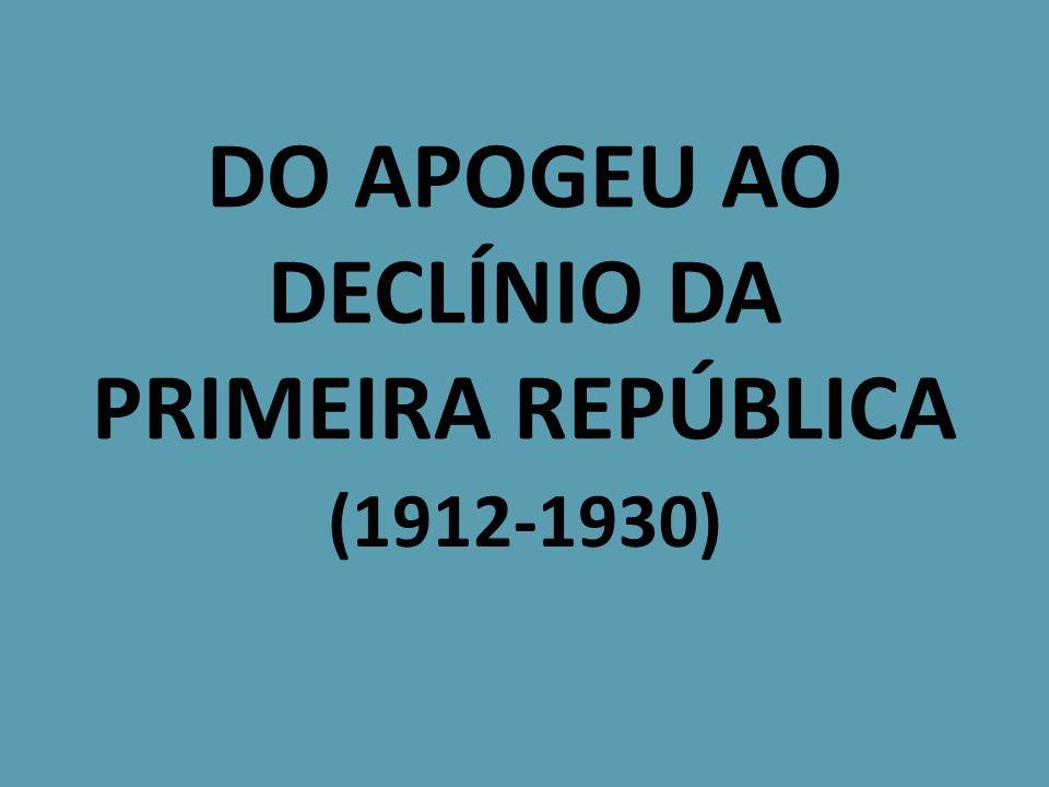 DO APOGEU AO DECLÍNIO DA PRIMEIRA REPÚBLICA (1912-1930)