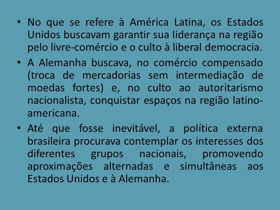 No que se refere à América Latina, os Estados Unidos buscavam garantir sua liderança na região pelo livre-comércio e o culto à liberal democracia. A A
