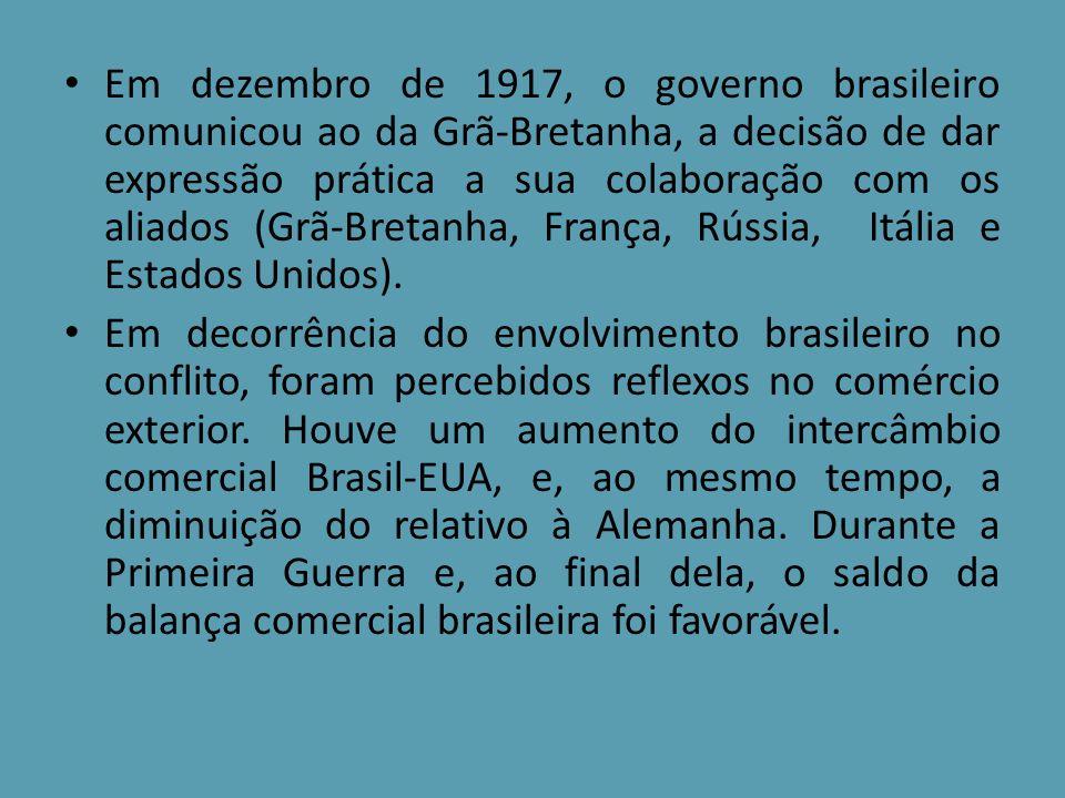 Em dezembro de 1917, o governo brasileiro comunicou ao da Grã-Bretanha, a decisão de dar expressão prática a sua colaboração com os aliados (Grã-Breta